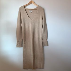 Wilfred Beige V Neck Ribbed Midi Dress